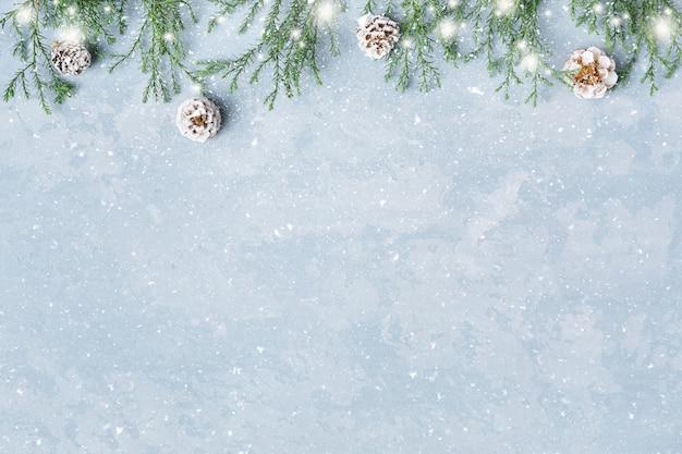 Kerstmis en nieuwjaar besneeuwde achtergrond met takjes en kegels grens