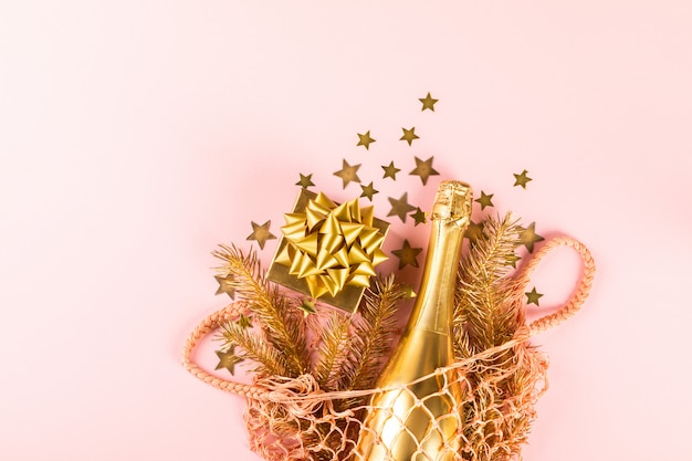 Kerstmis en nieuwjaarsamenstelling. herbruikbare boodschappentas.