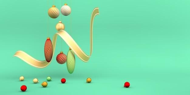 Kerstmis gouden rode groene bollen met lint op lichtgroen