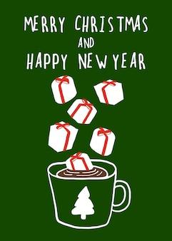 Kerstmis nieuwjaar kaart concept van marshmallow cadeau vallen op chocolade beker op groene achtergrond