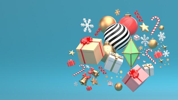 Kerstmis nieuwjaar ornament isoleren op kopie ruimte blauwe scène.
