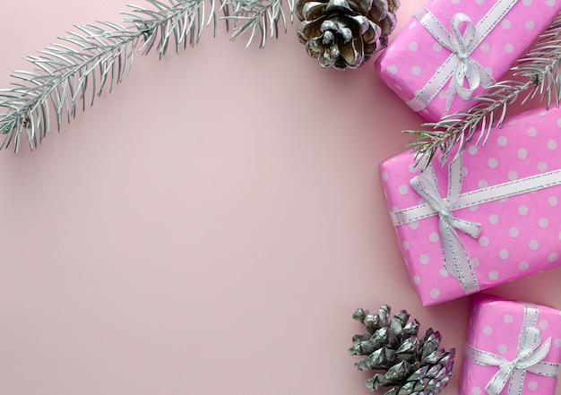 Kerstmis of nieuwjaar frame samenstelling.