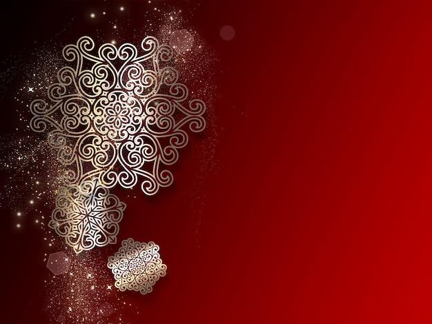 Kerstmis rode achtergrond met sneeuwvlokken