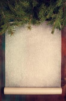 Kerstmisachtergrond met bakseldocument