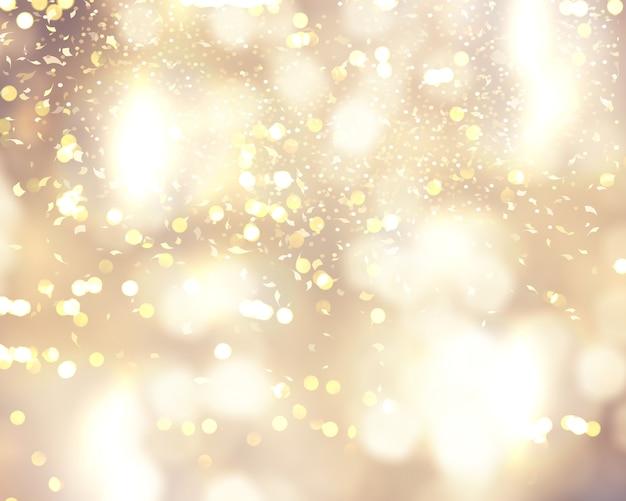 Kerstmisachtergrond met confettien en bokeh lichten