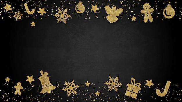 Kerstmisachtergrond met decoratie op donkere houten raad. kerstmis bovenaanzicht met tekstruimte.