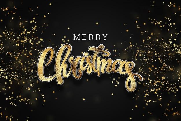 Kerstmisachtergrond met gouden lichten bokeh. xmas wenskaart.