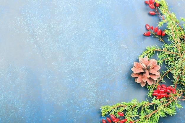 Kerstmisachtergrond met rode berberisbessen en nette takken.