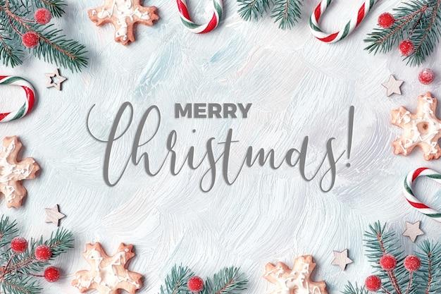 Kerstmiskader met spartakjes, suikergoedriet, berijpte bessen en koekjes. licht gestructureerd, plat liggend met de tekst