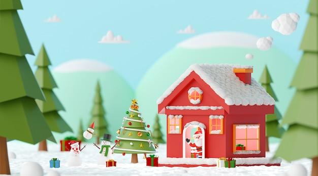 Kerstmispartij met santa claus en sneeuwman bij het rode huis in een pijnboombos, het 3d teruggeven