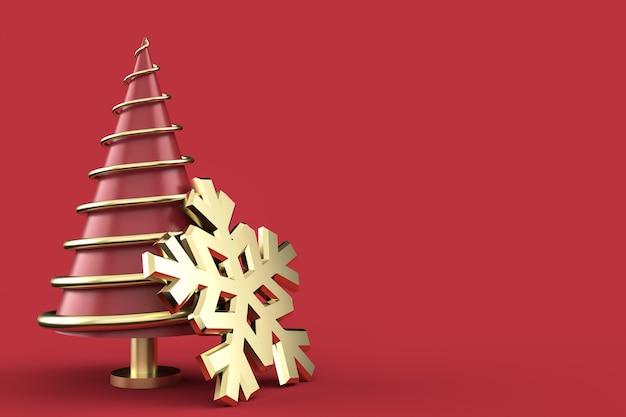 Kerstmissamenstelling met abstracte kerstboom en ornamenten