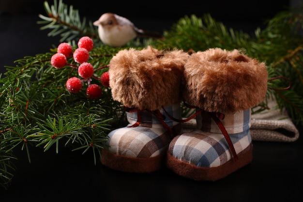 Kerstmissamenstelling met de winterlaarzen