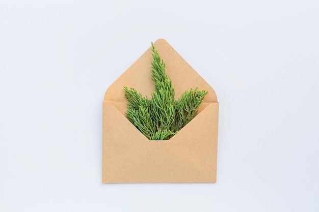 Kerstmissamenstelling met envelop, spartakken op wit. nieuw jaar concept. wenskaart, wintervakantie, xmas viering 2020. plat lag, bovenaanzicht, kopie ruimte, mockup, sjabloon