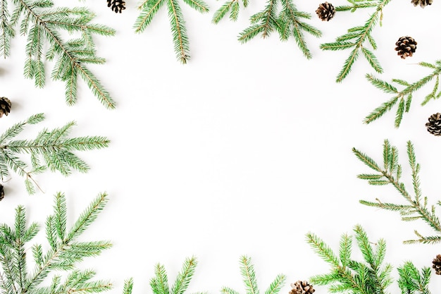 Kerstmissamenstelling met frame van dennentakken en denneappels.