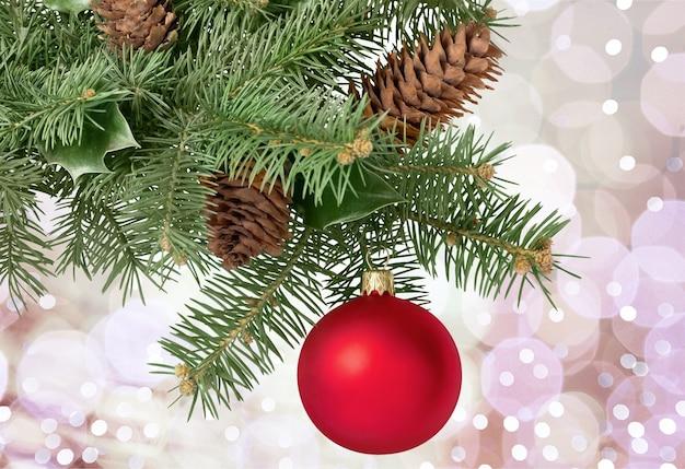 Kerstmisspeelgoed op dennenboomtak, op wit wordt geïsoleerd dat