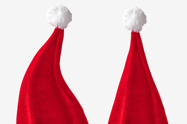 Kerstmuts op witte ruimte. selectieve aandacht. ruimte voor tekst.