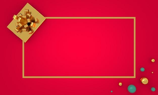 Kerstrand plat lag achtergrond met gouden geschenk huidige doos fuchsia wenskaart lange banner