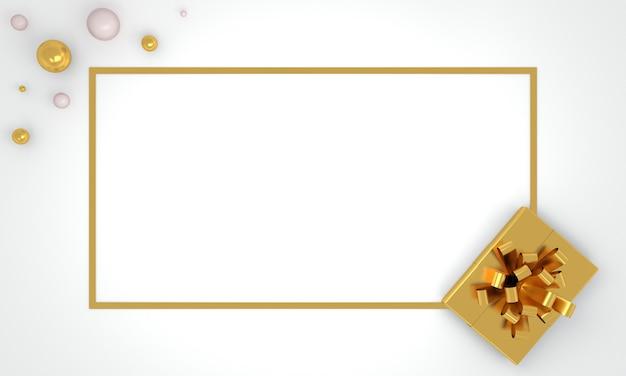 Kerstrand plat lag achtergrond met gouden geschenk huidige doos op witte wenskaart lange banner