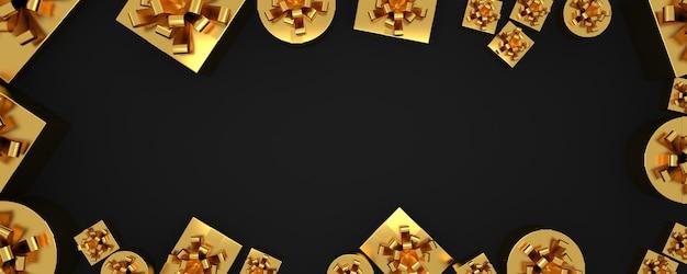 Kerstrand plat lag achtergrond met gouden geschenken presenteert vak zwarte wenskaart lange banner
