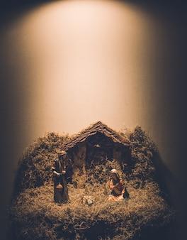 Kerststal kerstmis wieg achtergrond
