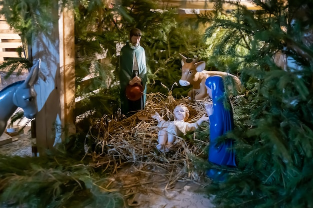 Kerststal met baby jesus creche