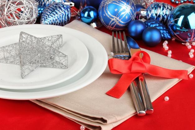 Kersttafel close-up serveren