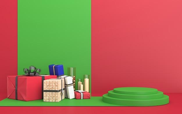 Kersttafereel met geschenken op een rode achtergrond en een groen podium