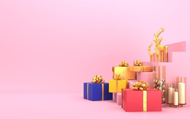 Kersttafereel met gouden herten en geschenken op de trap