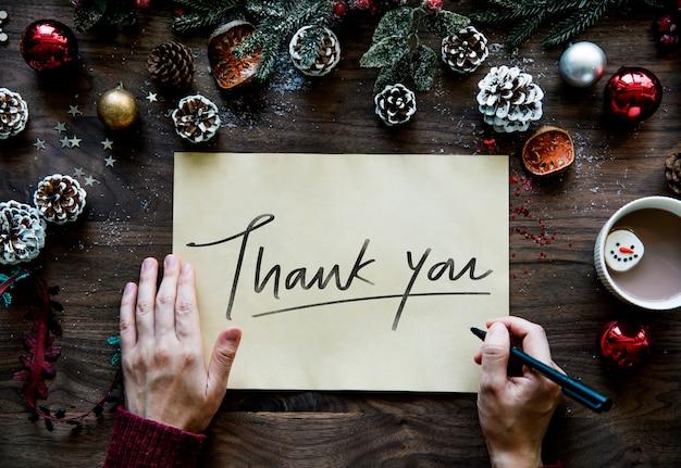 Kerstthema bedankkaart