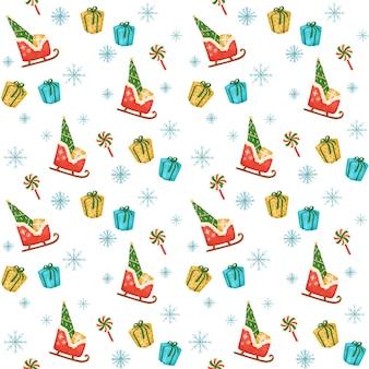 Kersttijd digitaal papier, nieuwjaar naadloze patroon, kerstman slee, geschenken, xmas cartoon behang