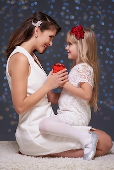 Kersttijd van moeder en dochter