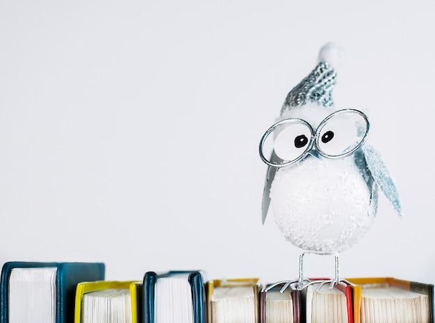 Kerstuilbeeldje met bril die op boeken staat