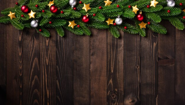 Kerstvakantie garland grens takken, en xmas ornament decor