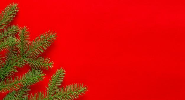 Kerstvakantie samenstelling fir tak op rode achtergrond met kopie ruimte