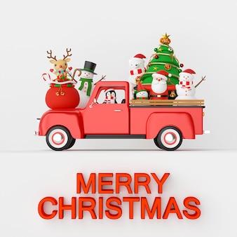 Kerstviering met de kerstman en vrienden op de achtergrond van de kerstvrachtwagen