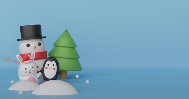 Kerstvieringen met sneeuwman, pinguïn en konijn,