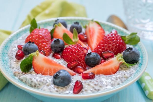 Keto ketogeen, paleo koolhydraatarm dieet, geen havermout ontbijtpap. kokos chia pudding met bessen, granaatappelpitjes en amandel
