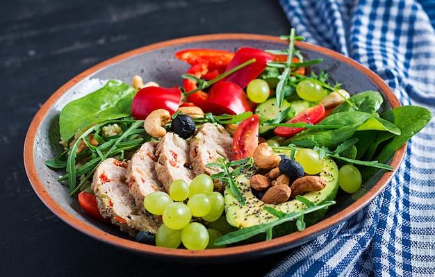 Ketogeen dieet. boeddha schaaltje met gehaktbrood, avocado, paprika, tomaat, komkommer, bessen en noten. detox en gezond superfoods komconcept.