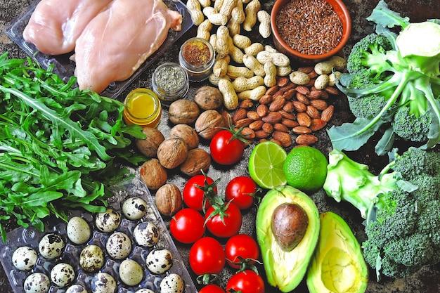 Ketogeen dieet concept. een set producten van het low carb keto-dieet. groene groenten, noten, kipfilet, lijnzaad, kwarteleitjes, kerstomaatjes. gezond eten concept. keto dieetvoeding.