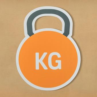 Kettlebell pictogram voor zwaar gewicht tillen
