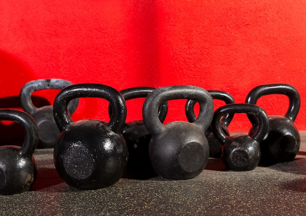Kettlebells weegt in een workout gym
