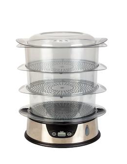 Keuken apparaat steamer voor voedsel met drie transparante containers geïsoleerd op een witte achtergrond.