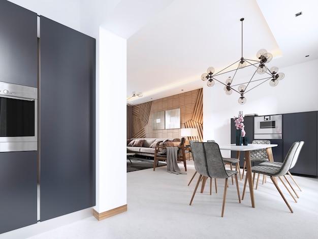 Keuken-eetkamer eigentijdse stijl in wit en grijs met grote ramen en inbouwapparatuur in het meubilair. 3d-weergave.