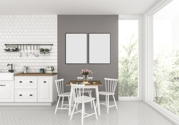 Keuken met lege dubbele frames