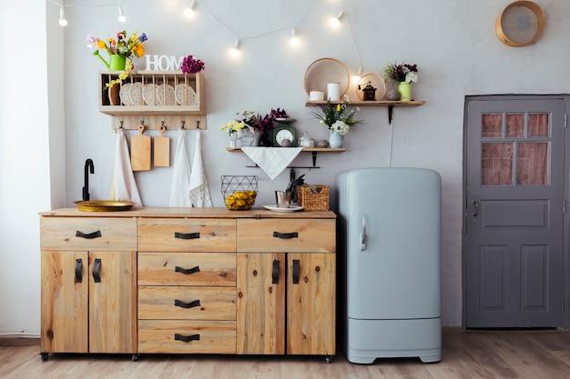 Keuken met vintage meubels