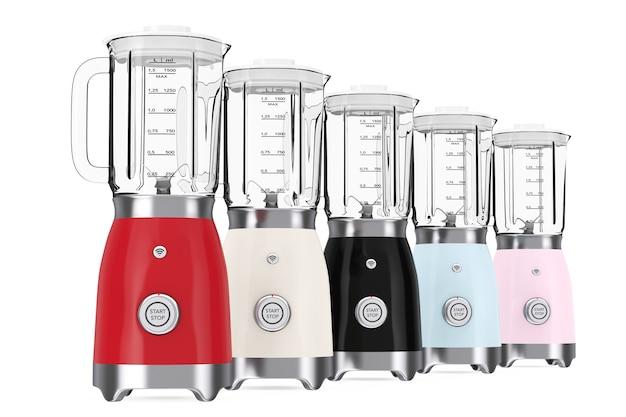 Keukenapparaat concept. moderne veelkleurige elektrische blenders op een witte achtergrond. 3d-rendering.