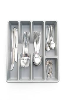 Keukendoos met bestek voor geïsoleerde lepels, vorken, messen