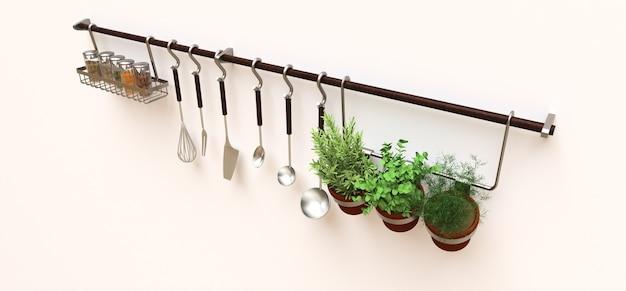 Keukengerei, droge bulk en levende kruiden in potten hangen aan de muur. 3d-weergave.