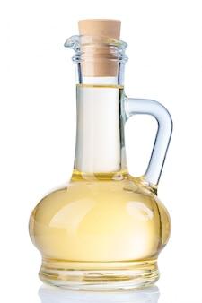 Keukengerei - glazen fles zonnebloemolie met handvat geïsoleerd