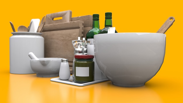 Keukengerei, olie en ingeblikte groenten in een pot op een gele achtergrond. 3d-weergave